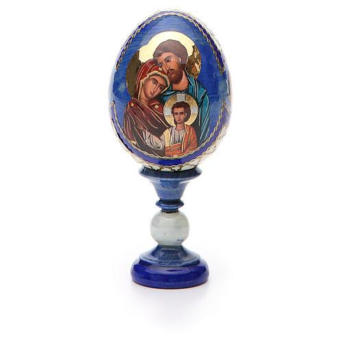 Huevo ruso de madera découpage Sagrada Familia altura total 13 cm estilo Fabergé 5