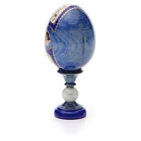 Uovo russo découpage Sacra Famiglia h tot. 13 cm stile Fabergé s7