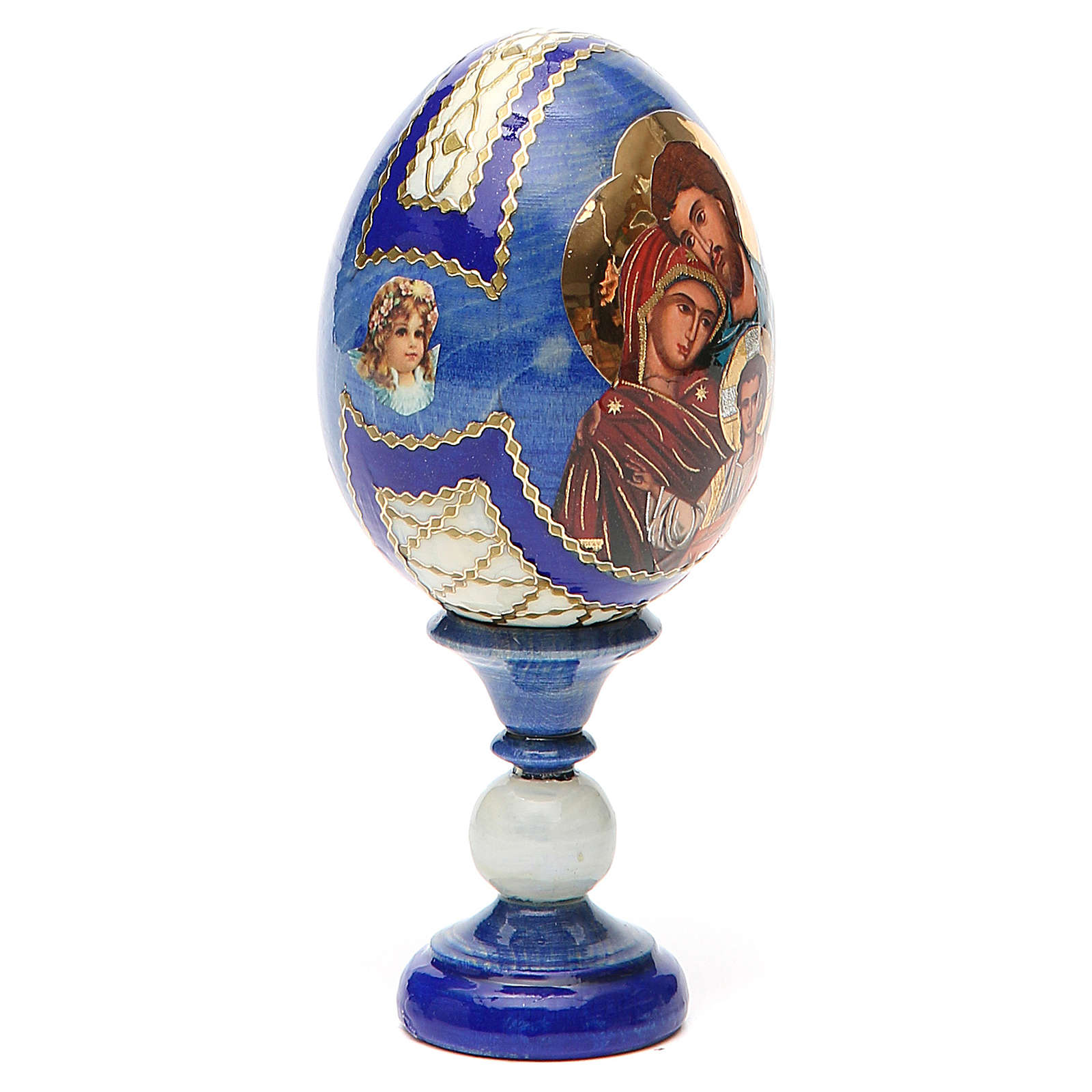Russian Egg Holy Family Fabergè style, blue background 13cm 4