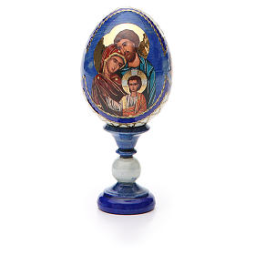 Russian Egg Holy Family Fabergè style, blue background 13cm s5