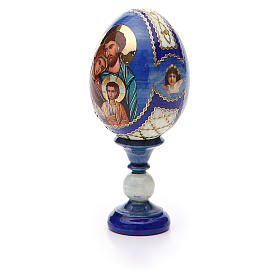 Russian Egg Holy Family Fabergè style, blue background 13cm s6