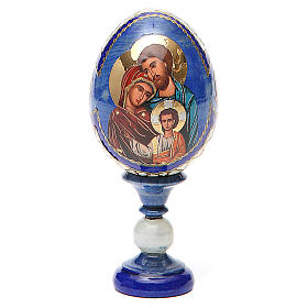 Russian Egg Holy Family Fabergè style, blue background 13cm s1