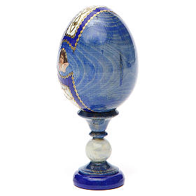 Russian Egg Holy Family Fabergè style, blue background 13cm s3