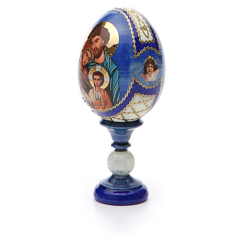 Russian Egg Holy Family Fabergè style, blue background 13cm 6