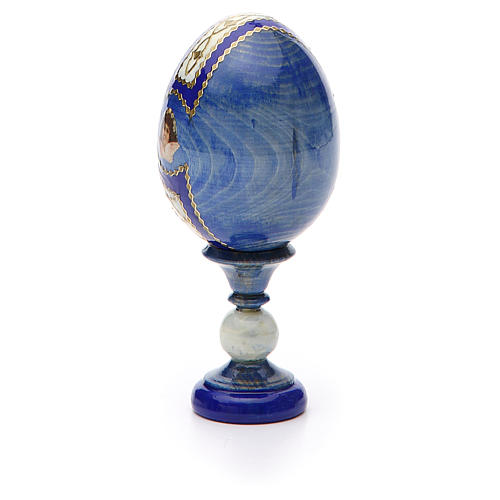 Russian Egg Holy Family Fabergè style, blue background 13cm 7