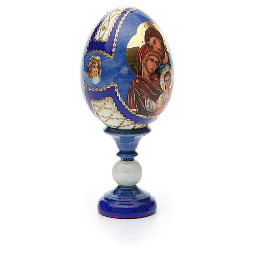 Russian Egg Holy Family Fabergè style, blue background 13cm 8