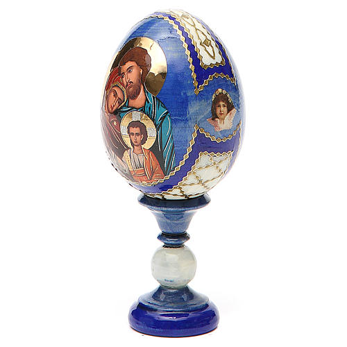 Russian Egg Holy Family Fabergè style, blue background 13cm 2