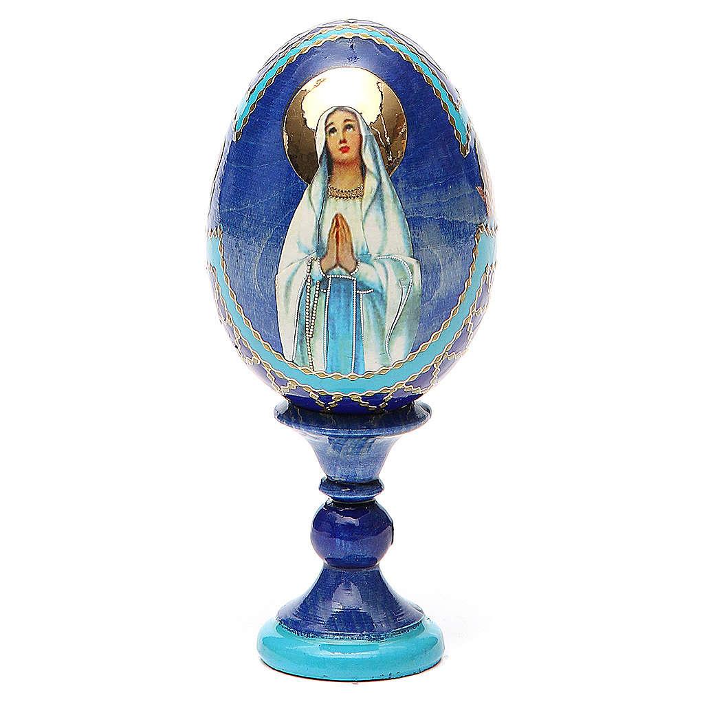 Uovo russo découpage Madonna di Lourdes h tot. 13 cm stile Fabergé 4