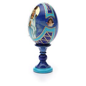 Uovo russo découpage Madonna di Lourdes h tot. 13 cm stile Fabergé s6