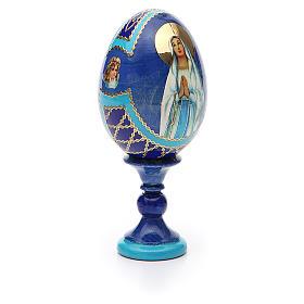 Uovo russo découpage Madonna di Lourdes h tot. 13 cm stile Fabergé s8