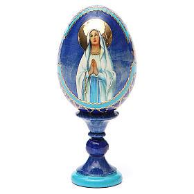 Uovo russo découpage Madonna di Lourdes h tot. 13 cm stile Fabergé s9