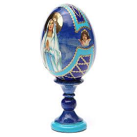 Uovo russo découpage Madonna di Lourdes h tot. 13 cm stile Fabergé s10