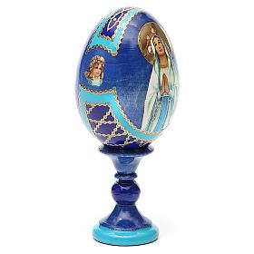 Uovo russo découpage Madonna di Lourdes h tot. 13 cm stile Fabergé s12