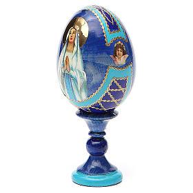 Uovo russo découpage Madonna di Lourdes h tot. 13 cm stile Fabergé s2