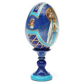 Uovo russo découpage Madonna di Lourdes h tot. 13 cm stile Fabergé s4