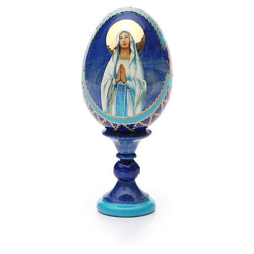 Uovo russo découpage Madonna di Lourdes h tot. 13 cm stile Fabergé 5