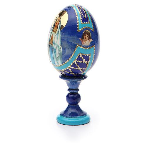 Uovo russo découpage Madonna di Lourdes h tot. 13 cm stile Fabergé 6