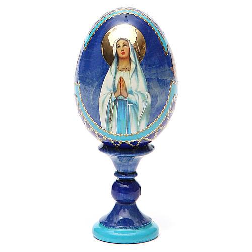 Uovo russo découpage Madonna di Lourdes h tot. 13 cm stile Fabergé 9
