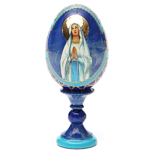 Uovo russo découpage Madonna di Lourdes h tot. 13 cm stile Fabergé 1