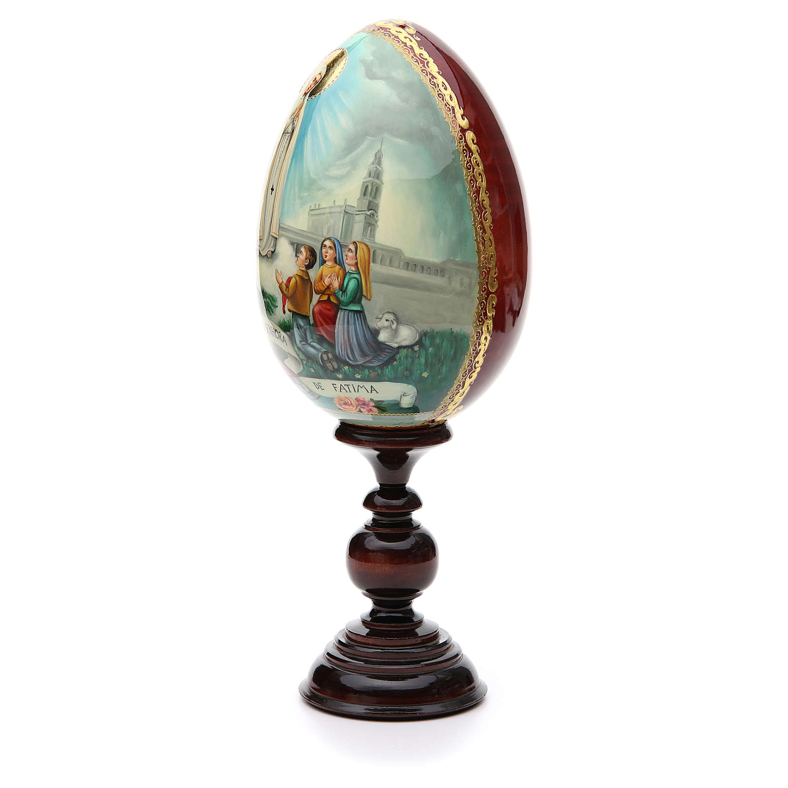Huevo ruso de madera PINTADO A MANO Virgen de Fatima altura total 30 cm 4