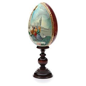 Huevo ruso de madera PINTADO A MANO Virgen de Fatima altura total 30 cm s2