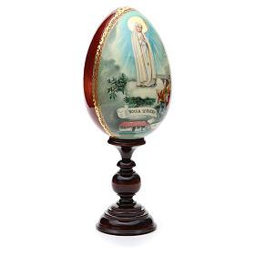 Huevo ruso de madera PINTADO A MANO Virgen de Fatima altura total 30 cm s4
