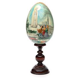 Huevo ruso de madera PINTADO A MANO Virgen de Fatima altura total 30 cm s5