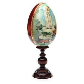 Huevo ruso de madera PINTADO A MANO Virgen de Fatima altura total 30 cm s8