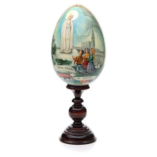Huevo ruso de madera PINTADO A MANO Virgen de Fatima altura total 30 cm 1
