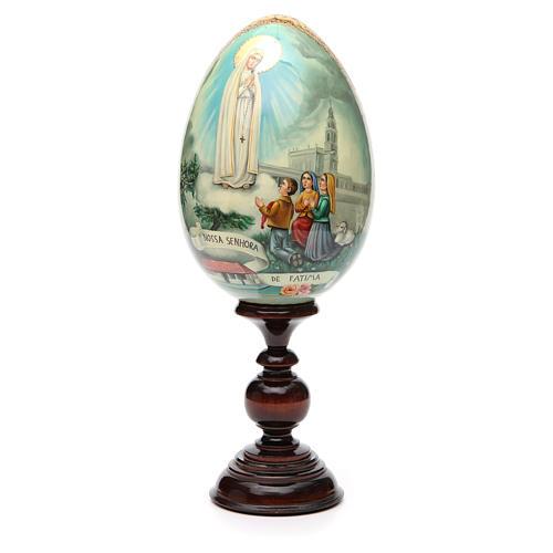 Huevo ruso de madera PINTADO A MANO Virgen de Fatima altura total 30 cm 5