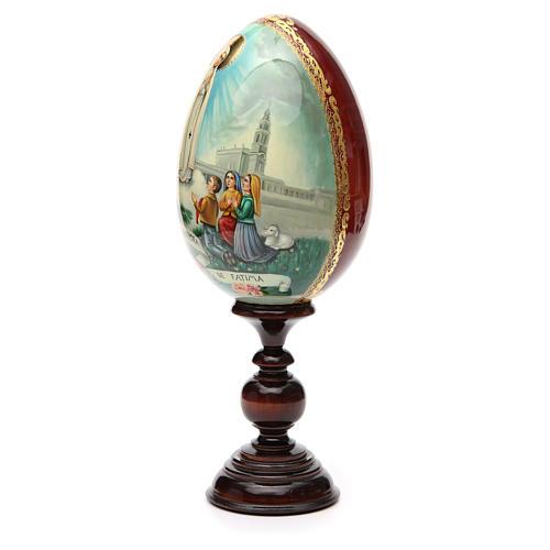 Huevo ruso de madera PINTADO A MANO Virgen de Fatima altura total 30 cm 6