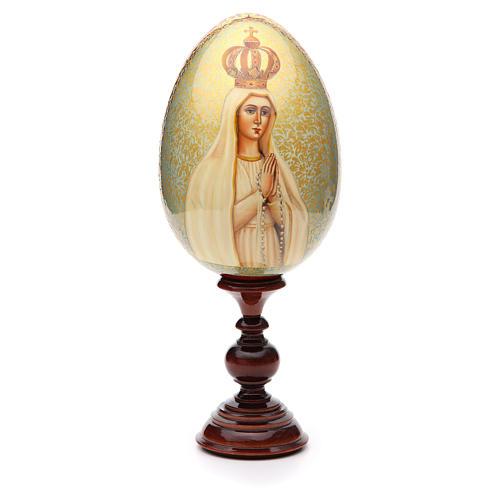 Huevo ruso de madera PINTADO A MANO Fatima altura total 30 cm 1