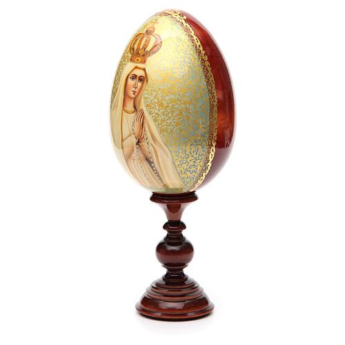 Huevo ruso de madera PINTADO A MANO Fatima altura total 30 cm 6