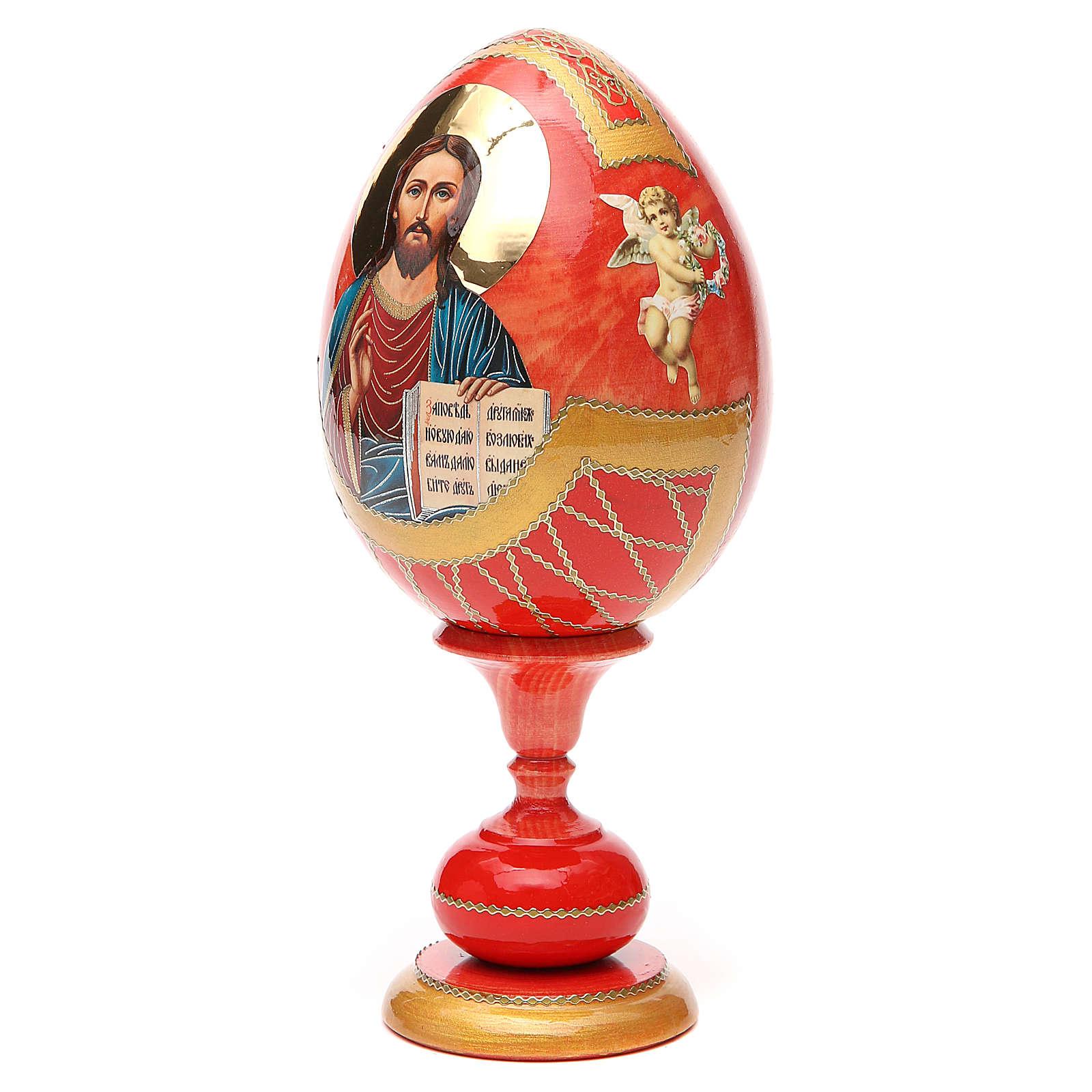 Uovo legno découpage russa Pantocratore tot h 20 cm stile Fabergè 4