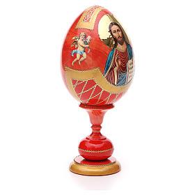 Uovo legno découpage russa Pantocratore tot h 20 cm stile Fabergè s4