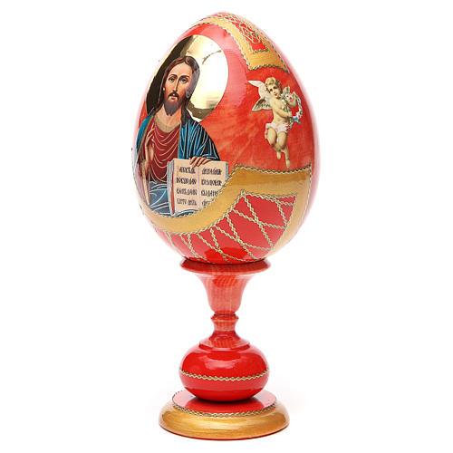 Uovo legno découpage russa Pantocratore tot h 20 cm stile Fabergè 6