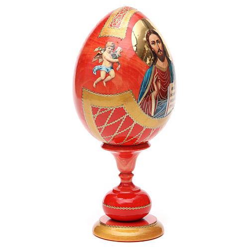 Uovo legno découpage russa Pantocratore tot h 20 cm stile Fabergè 8