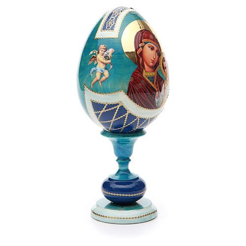 Russian Egg Our Lady of Kazan découpage, Fabergè style 20cm 4