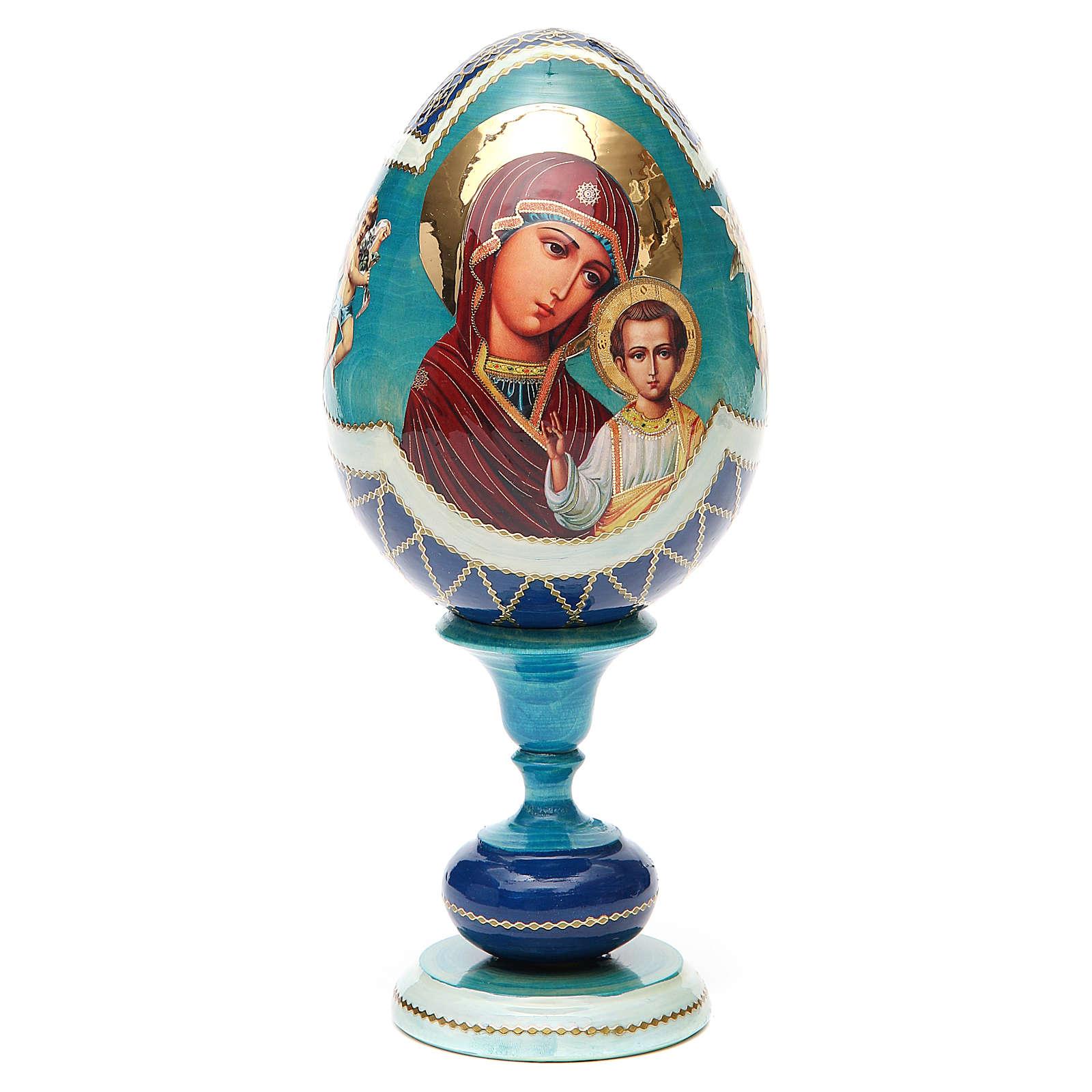 Oeuf bois découpage russe Kazanskaya h 20 cm style Fabergé 4