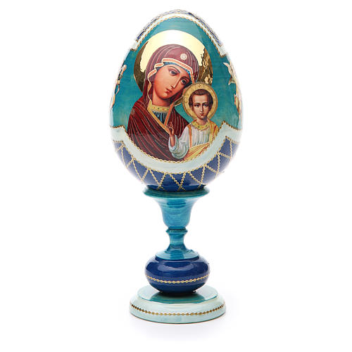Oeuf bois découpage russe Kazanskaya h 20 cm style Fabergé 1