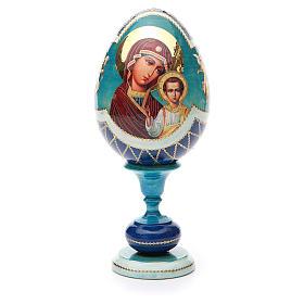 Uovo legno découpage russa Kazanskaya tot h 20 cm stile Fabergè s1