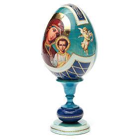 Uovo legno découpage russa Kazanskaya tot h 20 cm stile Fabergè s6