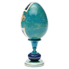 Uovo legno découpage russa Kazanskaya tot h 20 cm stile Fabergè s7