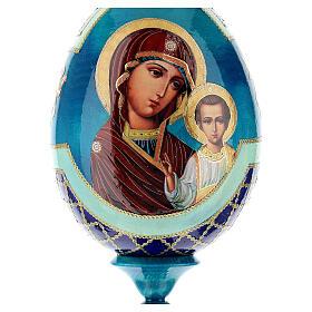 Uovo legno découpage russa Kazanskaya tot h 20 cm stile Fabergè s2