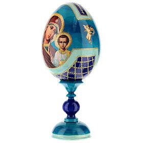 Uovo legno découpage russa Kazanskaya tot h 20 cm stile Fabergè s3