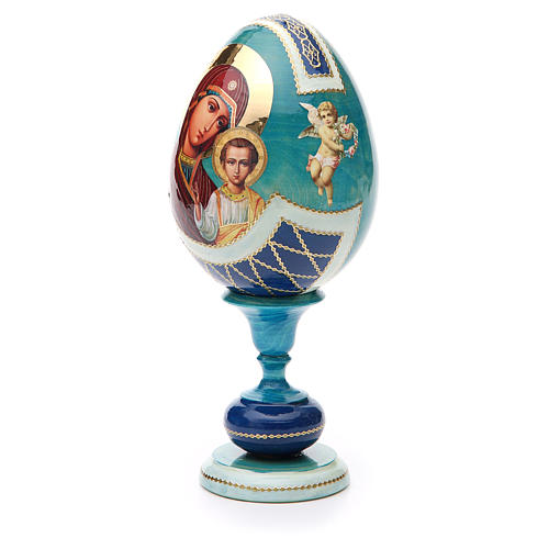 Uovo legno découpage russa Kazanskaya tot h 20 cm stile Fabergè 2