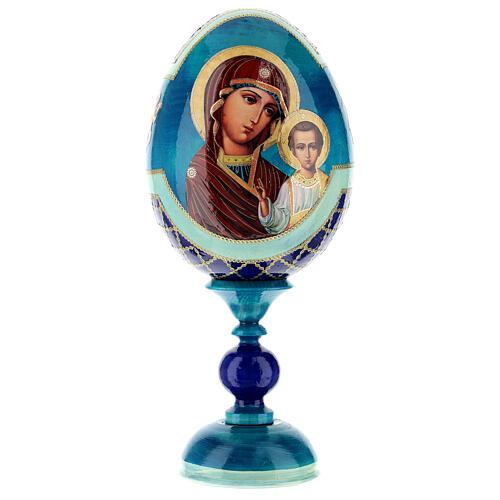 Uovo legno découpage russa Kazanskaya tot h 20 cm stile Fabergè 1