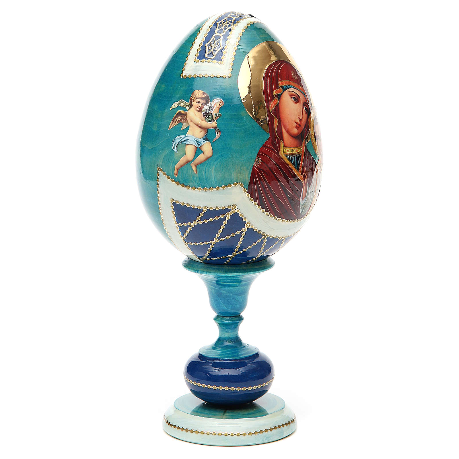 Russian Egg Our Lady of Kazan découpage, Fabergè style 20cm 4
