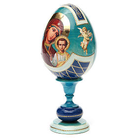 Russian Egg Our Lady of Kazan découpage, Fabergè style 20cm s6