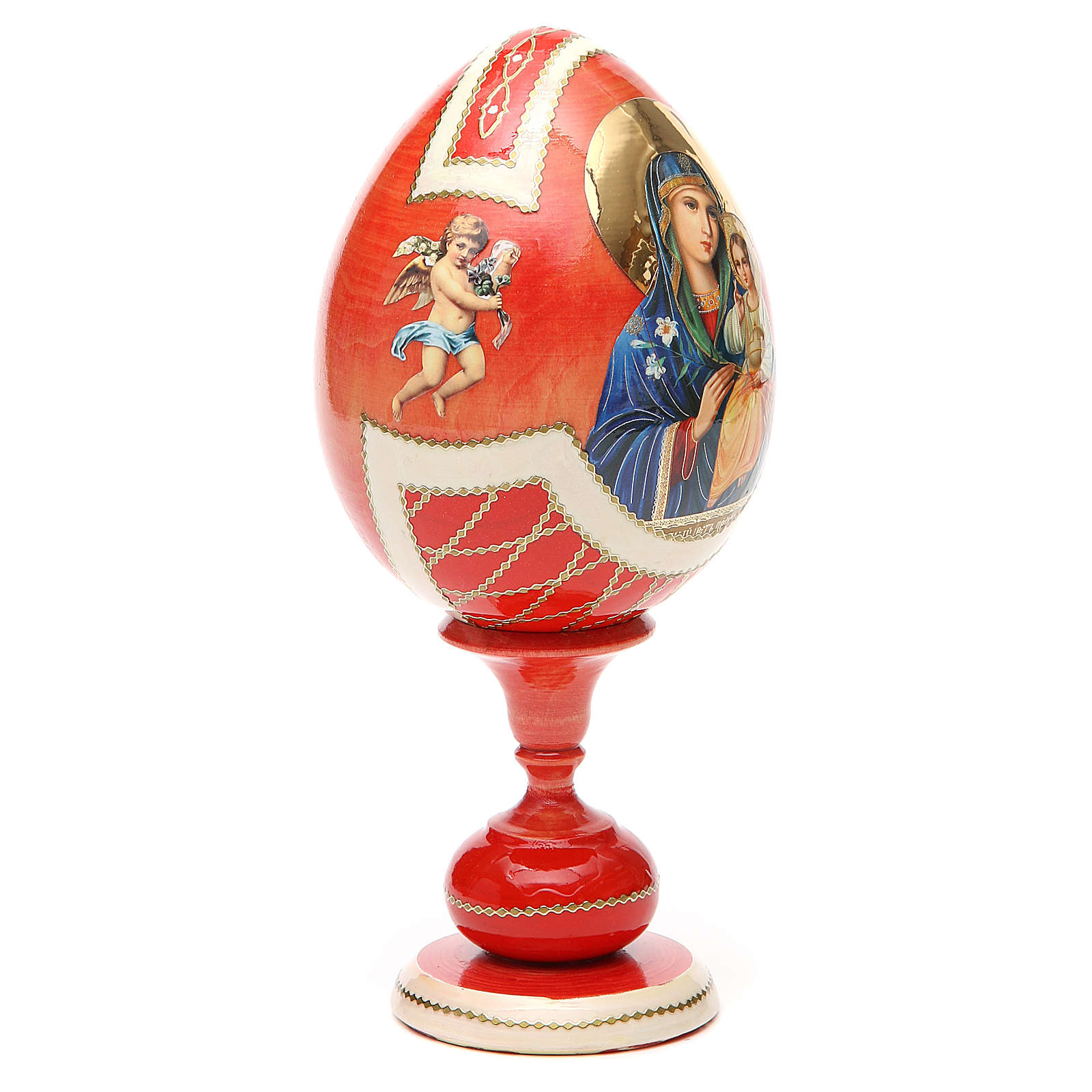 Uovo legno découpage russa Giglio Bianco tot h 20 cm stile Fabergè 4